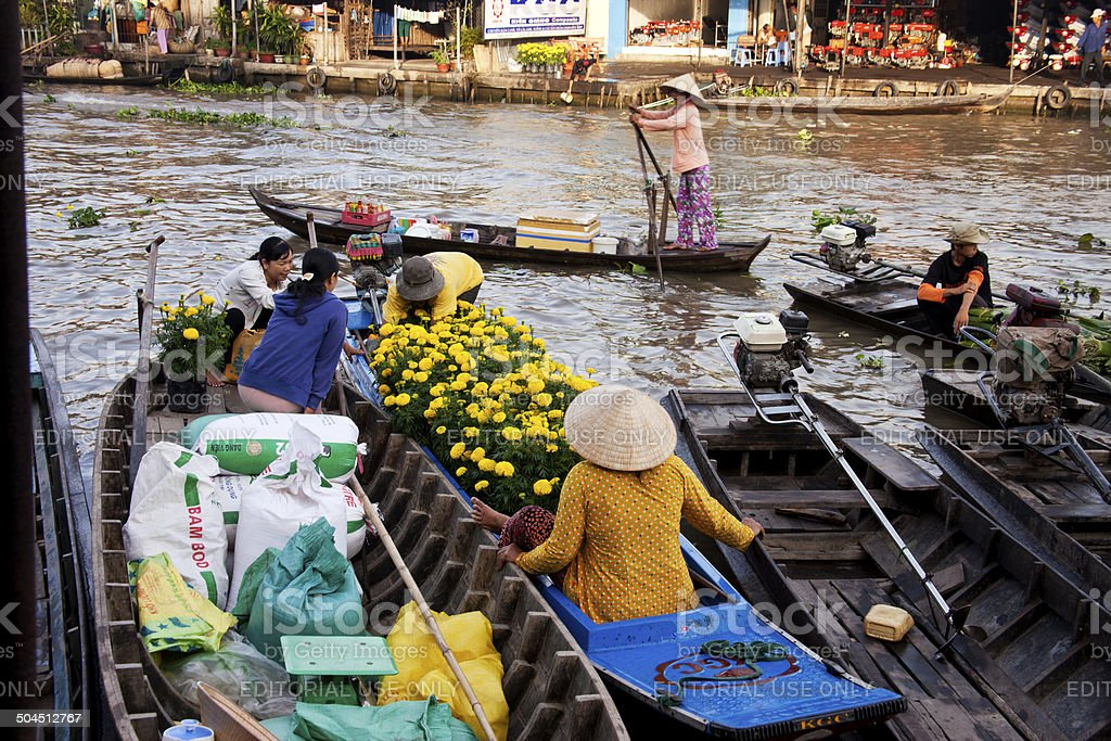 Buying Flowers for Tet stock photo
