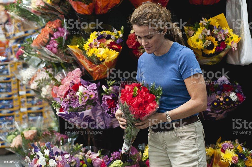 Buying flowers royalty-free stock photo