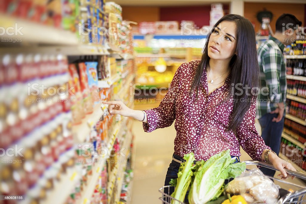 Buying food at the supermarket stock photo