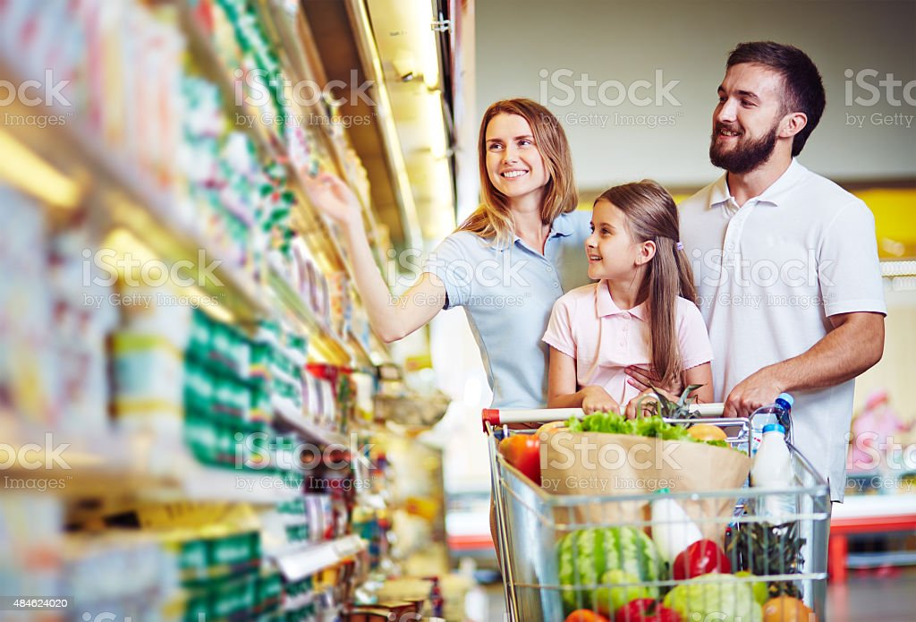 Buying food in hypermarket stock photo