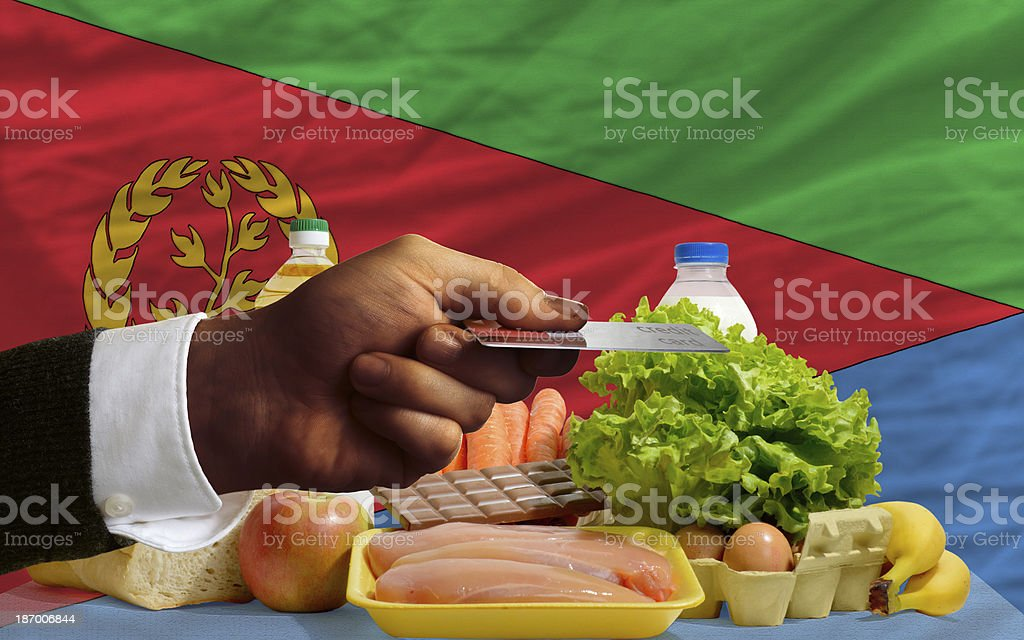 buying groceries with credit card in eritrea royalty-free stock photo