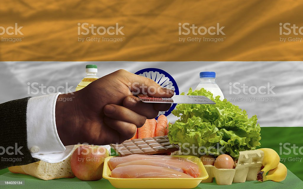 buying groceries with credit card in india royalty-free stock photo