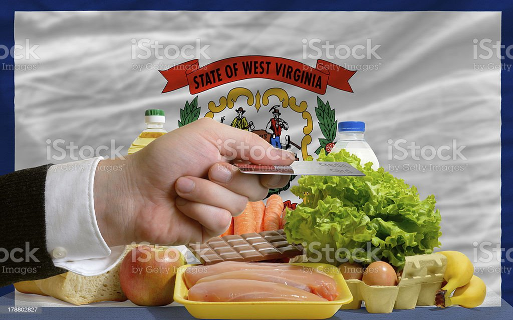 buying groceries with credit card in us state west virginia royalty-free stock photo