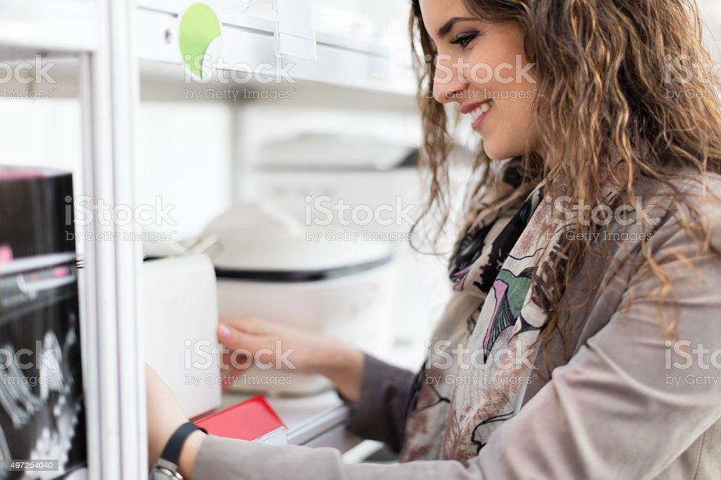 Buying kitchenware stock photo