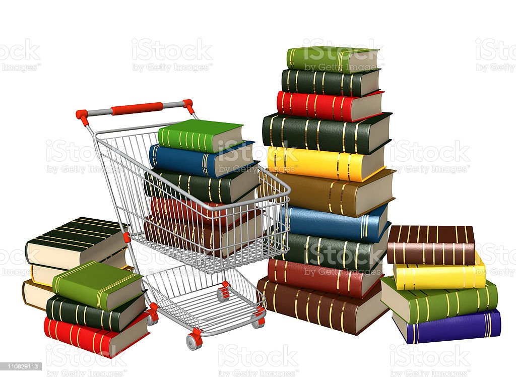 Buying of books stock photo