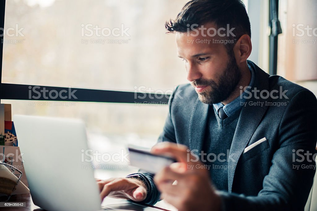 Buying on the internet stock photo