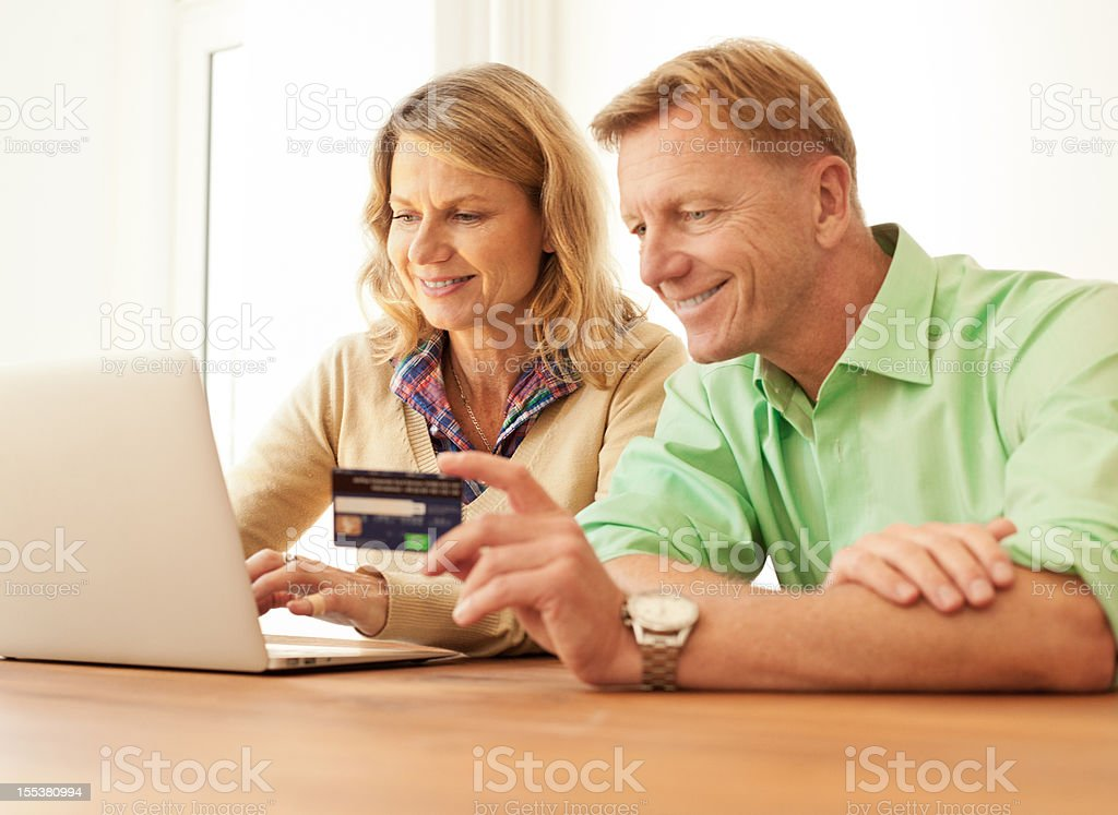 Buying online with credit card stock photo