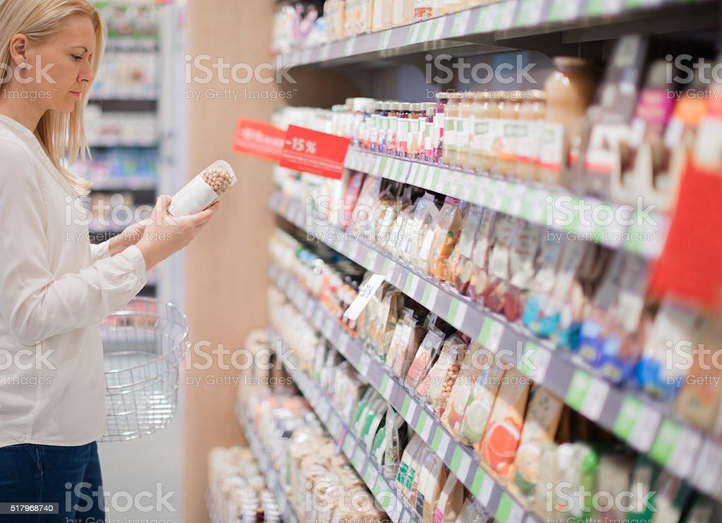 Buying organic food stock photo