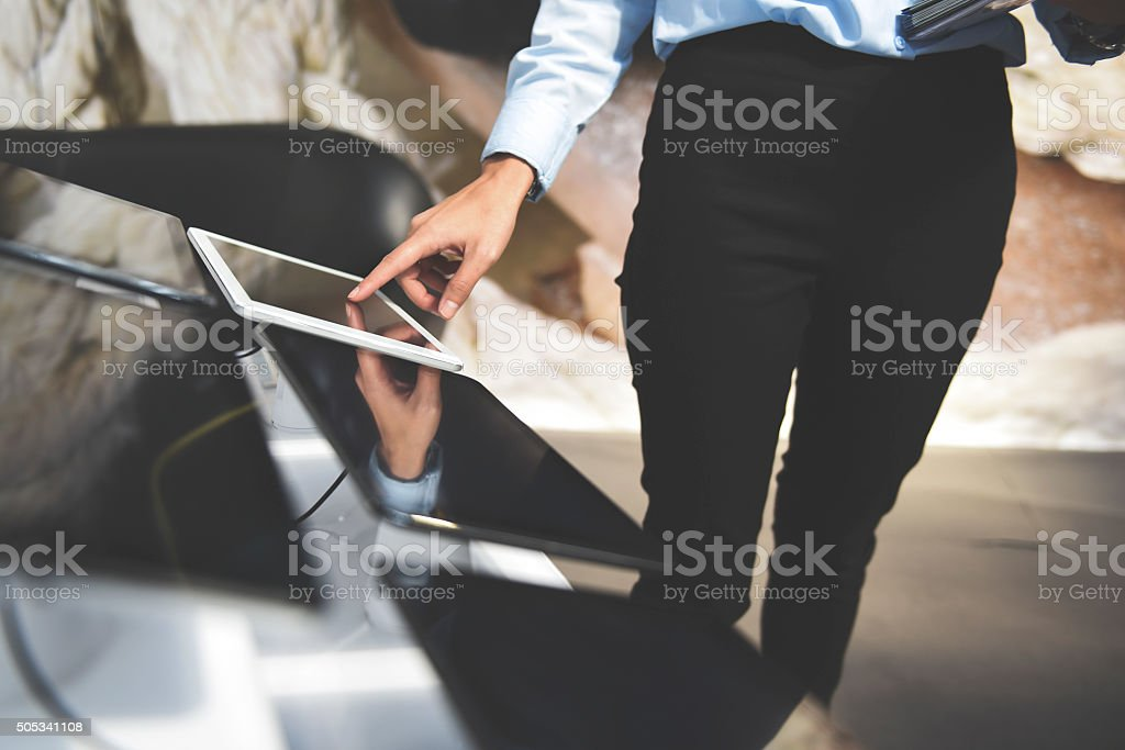 Buying Tablet stock photo