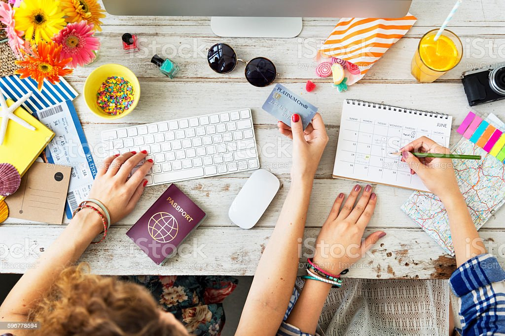 Buying Ticket Planning Agenda Travel Concept stock photo
