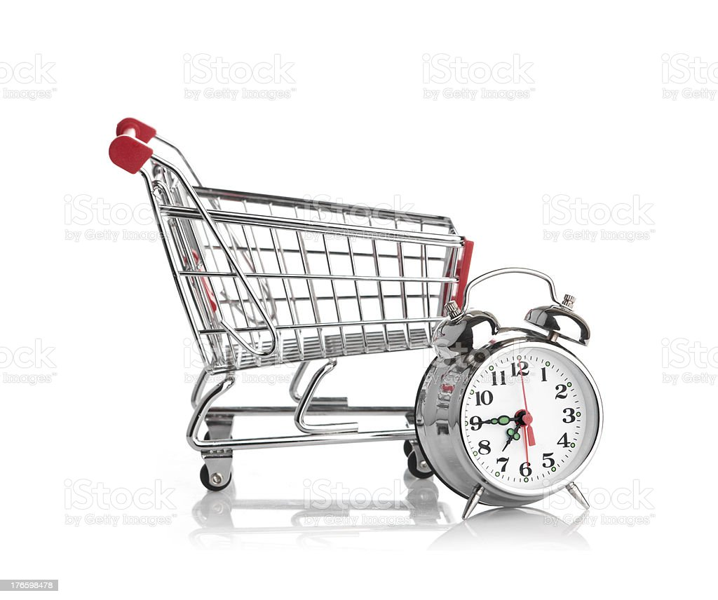 Buying time concept with clock royalty-free stock photo