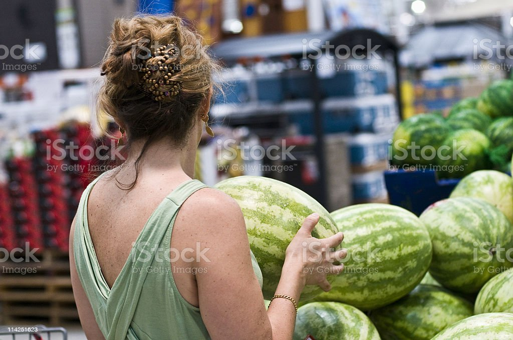 Buying watermelons royalty-free stock photo