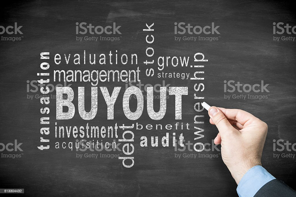 buyout word cloud on blackboard stock photo