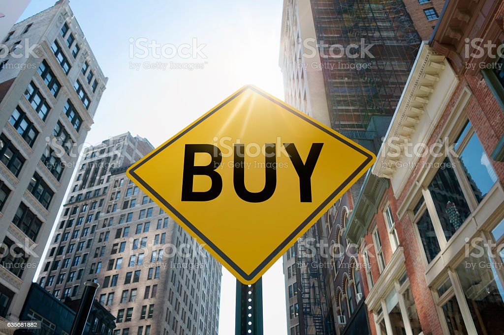 'buy'traffic sign stock photo
