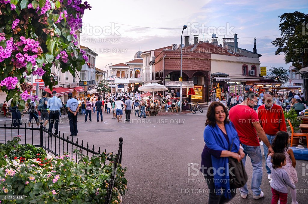 Buyukada Square, in the evening hours. stock photo