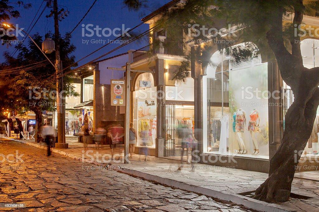 Buzios Main Street - Rua das Pedras stock photo