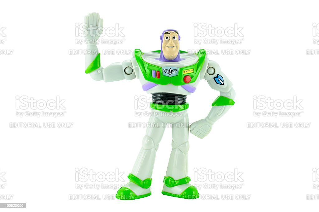 Buzz Lightyear robot toy character form Toy Story animation film stock photo