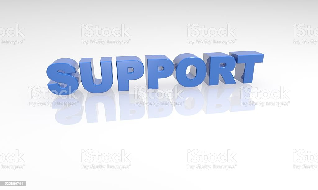 buzzword 3d support blue text stock photo