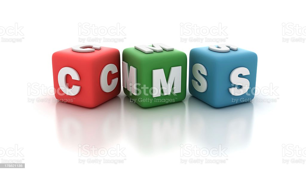 Buzzword Blocks: CMS (Content Manager software) stock photo