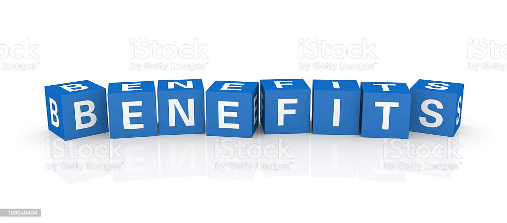 Buzzword Cubes: Benefits royalty-free stock photo