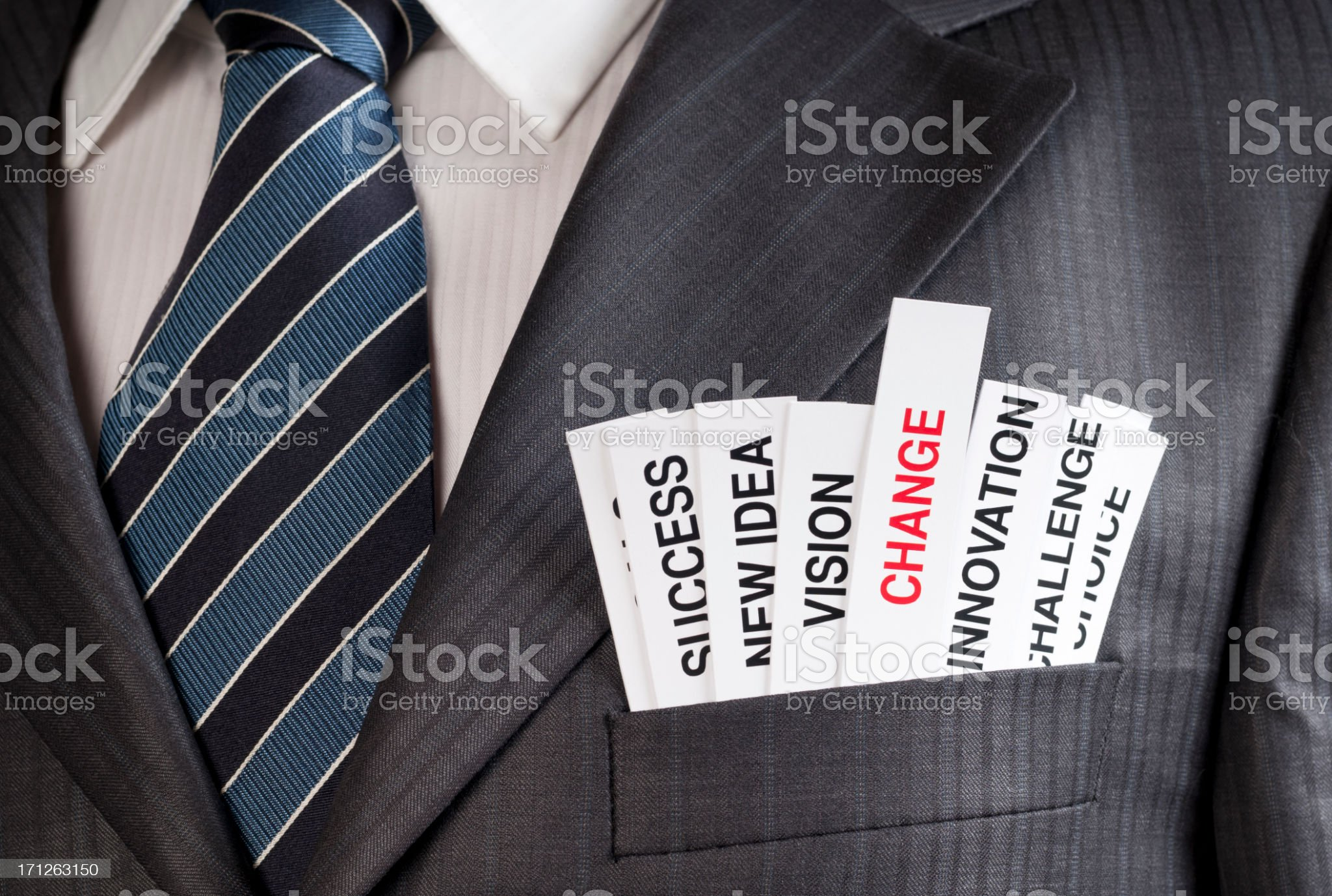 Buzzwords commonly used in a businessman's suit pocket  royalty-free stock photo