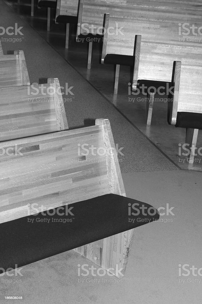 bw church aisle royalty-free stock photo