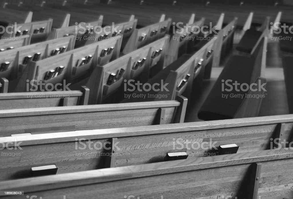 bw church pews 1 stock photo