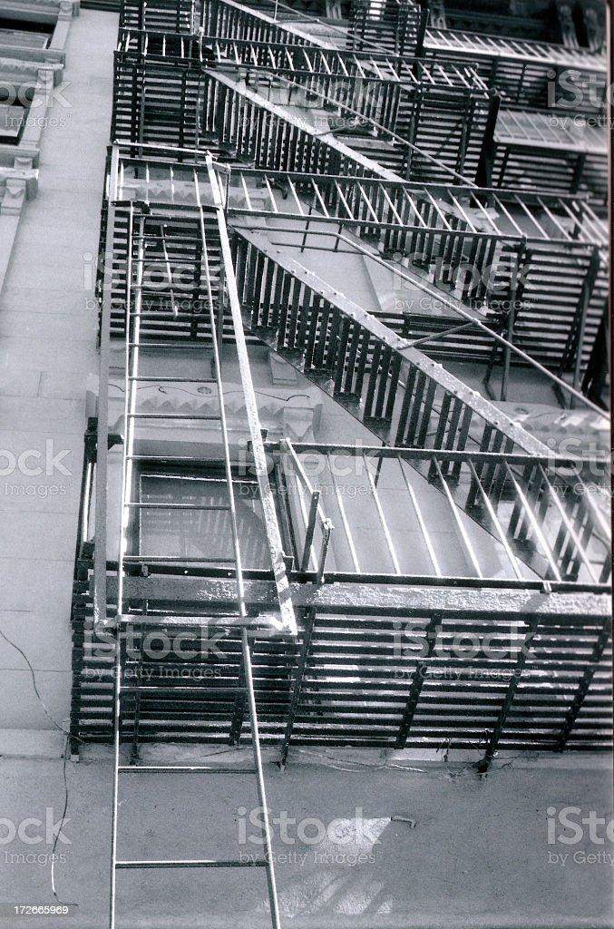 b&w fire escape in nyc (hi-rez) royalty-free stock photo