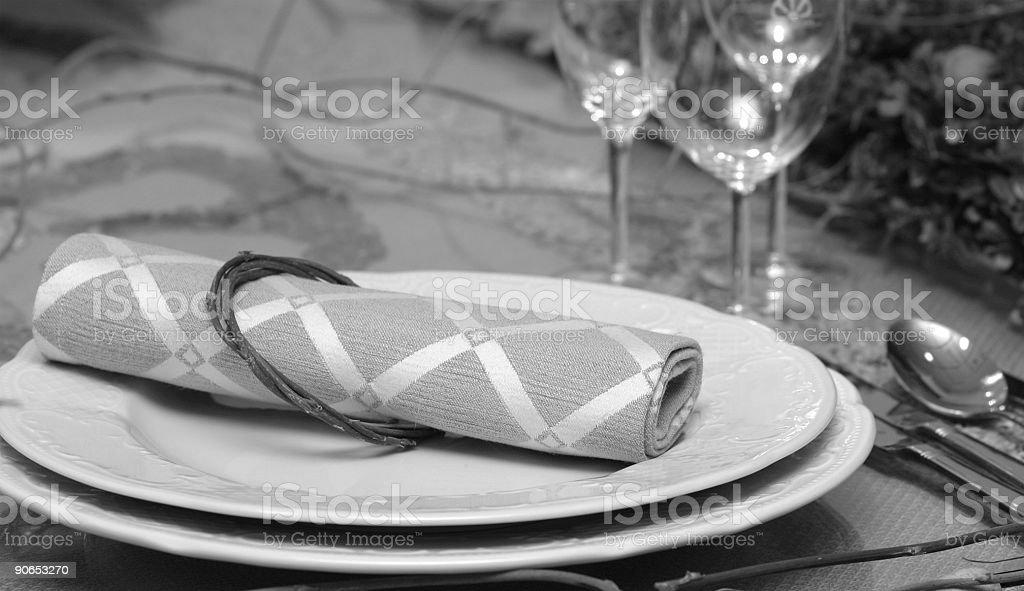 B/w table setting royalty-free stock photo