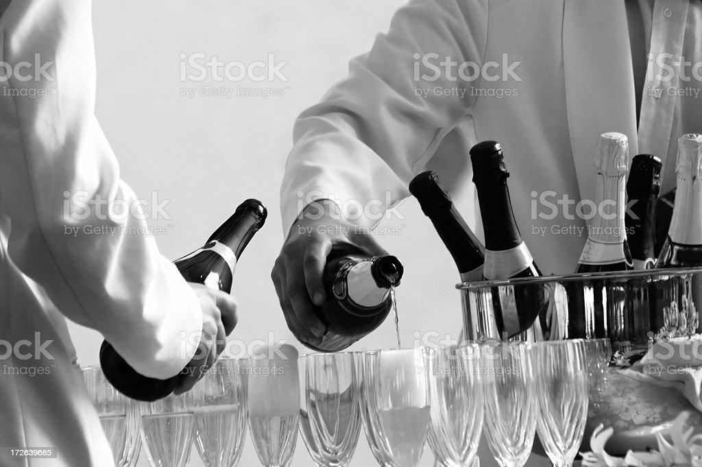 b/w - waiters serving stock photo