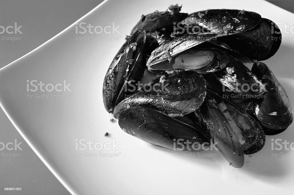 B&W,mussels marinara, B&N,cozze alla marinara royalty-free stock photo