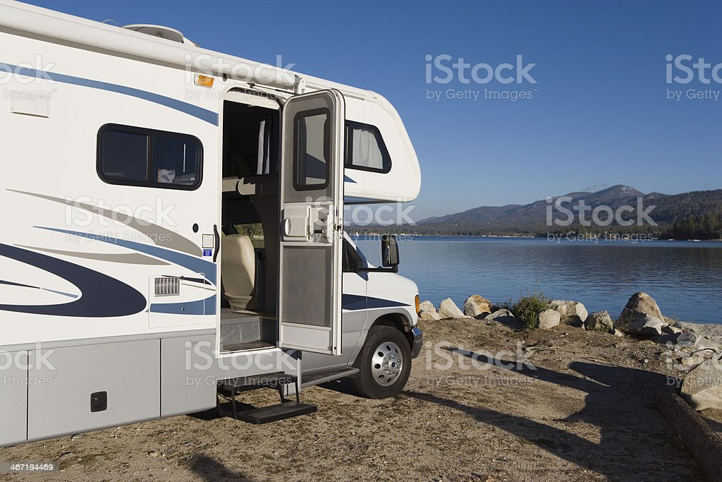 RV by a Lake stock photo