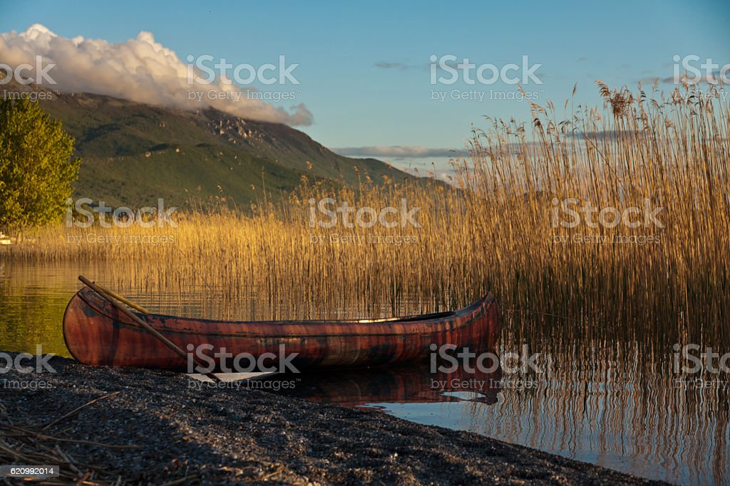 By canoe on the lake stock photo