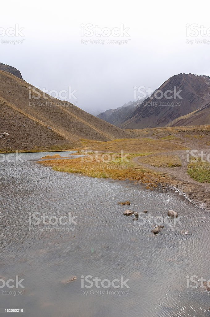 By the acconcagua moutain (andes) stock photo