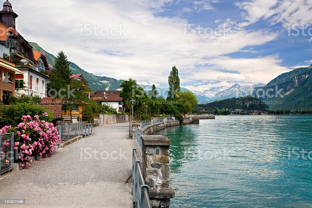 By the Lake in Brienz, Berne Canton, Switzerland stock photo