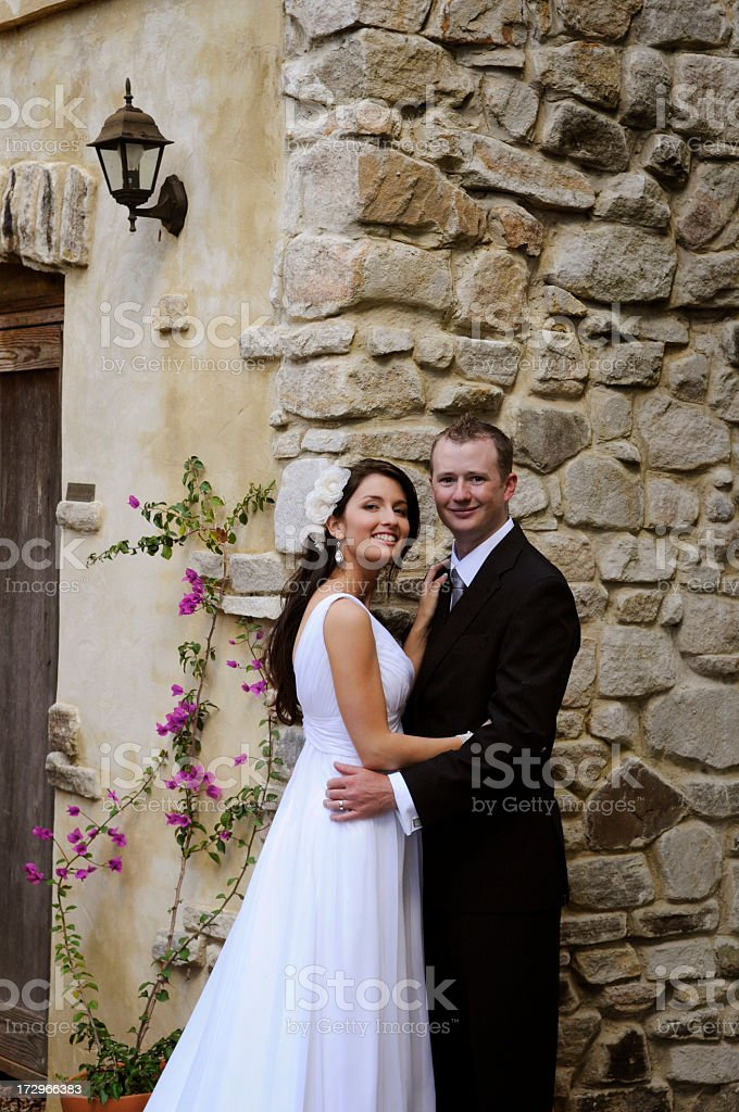 By the stone wall royalty-free stock photo