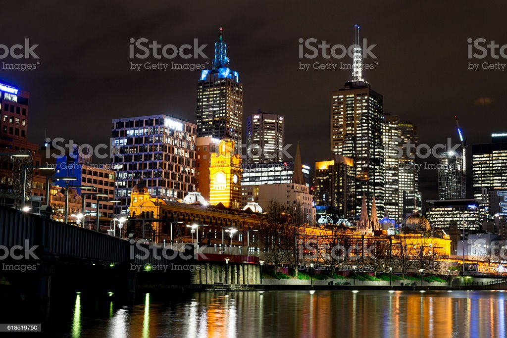 By the Yarra river in Melbourne at night stock photo
