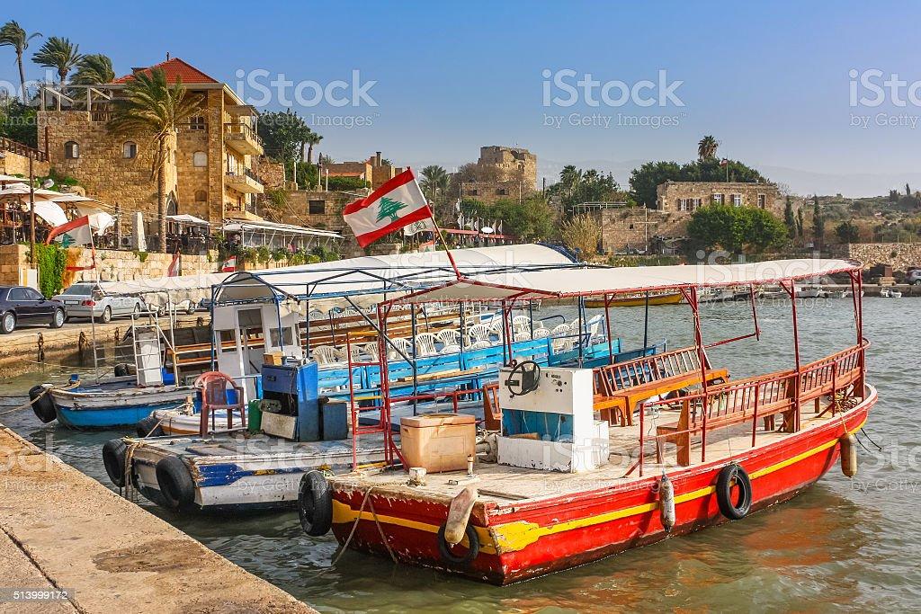 Byblos Harbor Lebanon stock photo