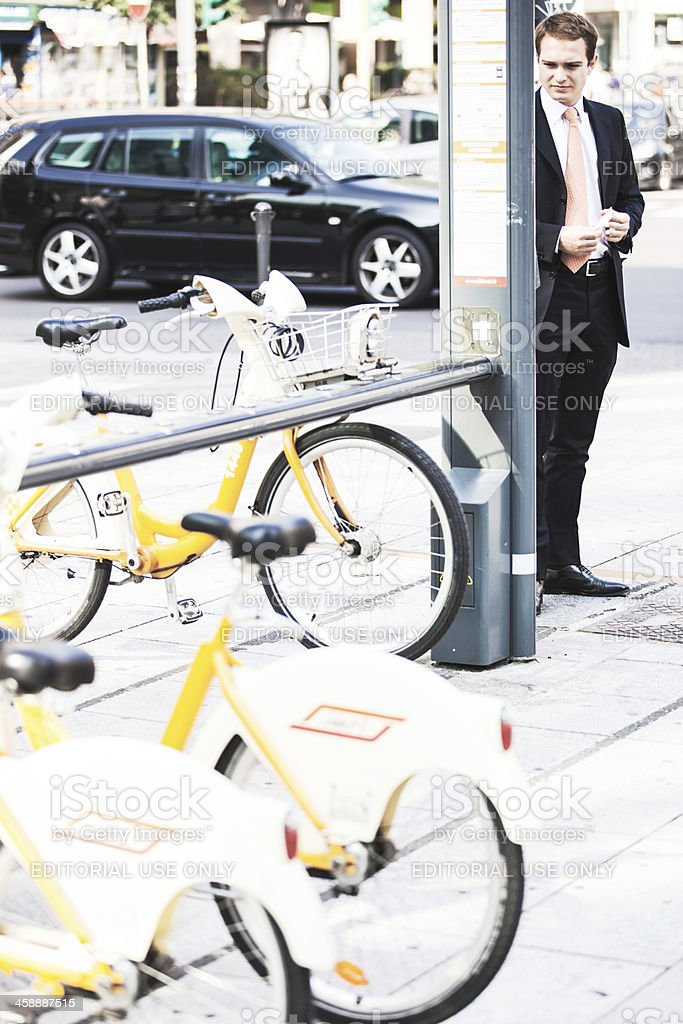 Bycicle rental program in Milan. royalty-free stock photo