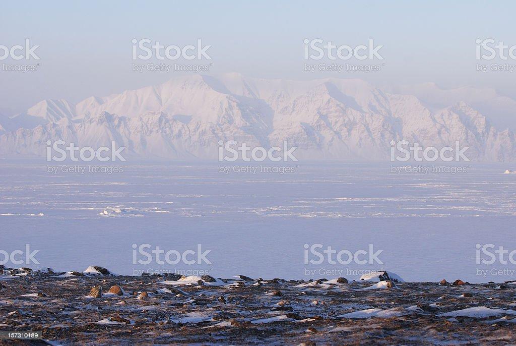 Bylot Island from Pond Inlet, Baffin Island, Nunavut. stock photo