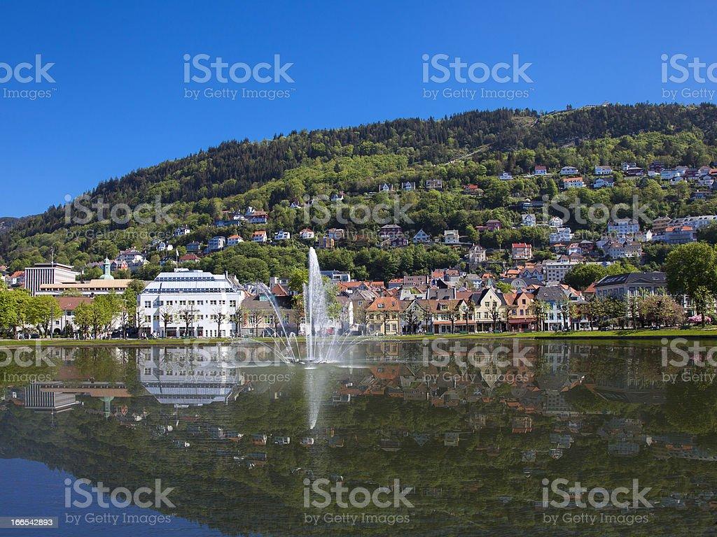 Byparken in Bergen - Lille Lungårdsvannet stock photo