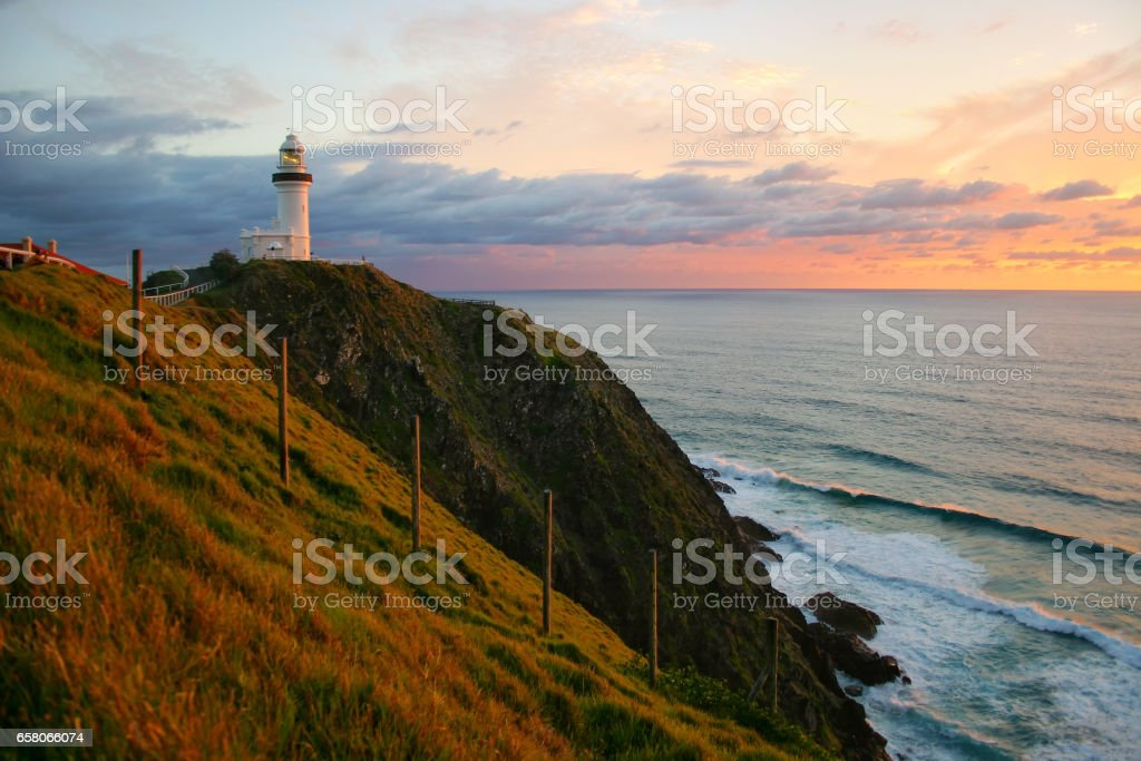 Byron Bay Lighthouse at sunrise stock photo