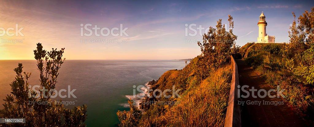 Byron Bay Lighthouse + Ocean Panorama stock photo