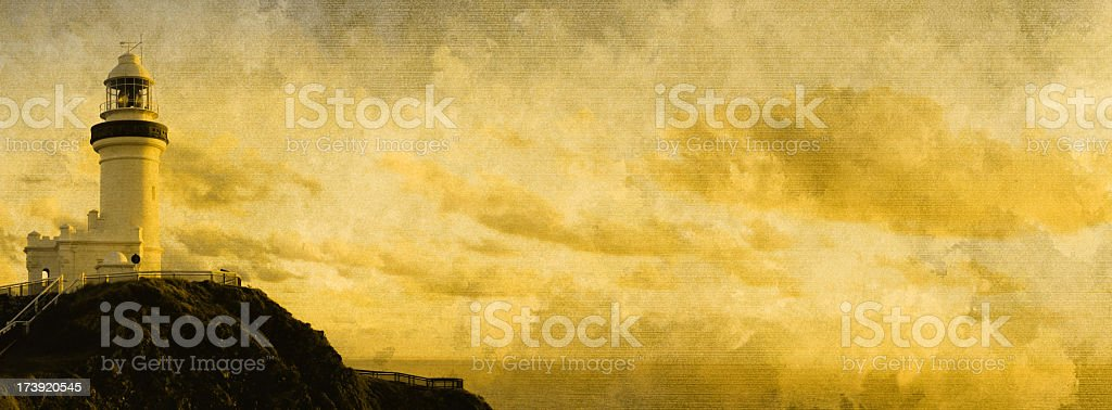 Byron Bay Lighthouse on Old Paper royalty-free stock photo