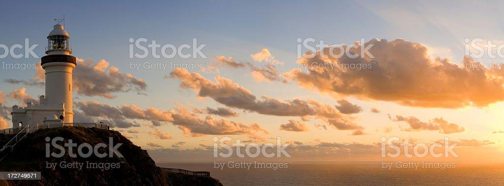 Byron Bay Lighthouse Vanilla Sunrise stock photo