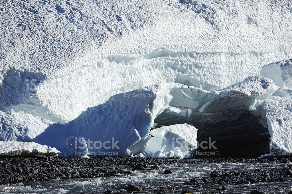 Byron Glacier Mouth and River - Portage Valley, Alaska stock photo