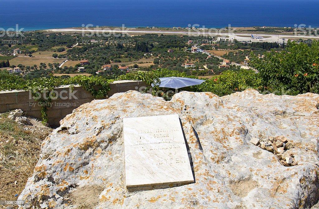 Byron's memorial rock at Cephalonia, Greece stock photo