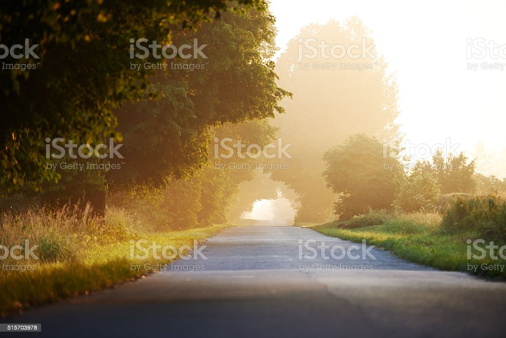 Byway in the morning stock photo