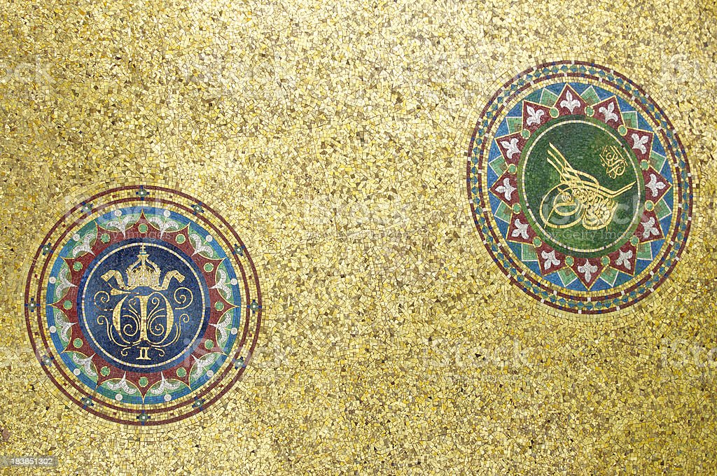 Byzantine Arabic Designs with Textured Gold Background royalty-free stock photo