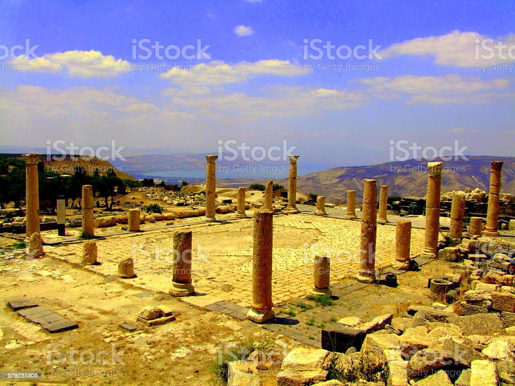 Byzantine Basilica, Umm Qais (Gadara) Jordan stock photo